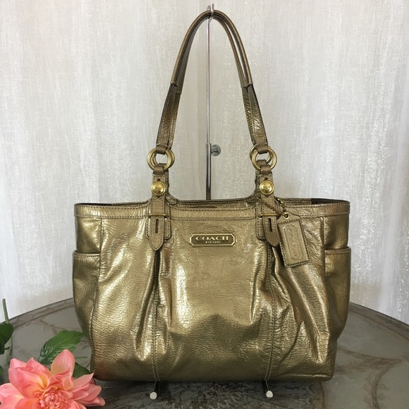Coach Bags   Gallery Ew Patent Leather Gold Tote F15253   Poshmark 26d6f4182d